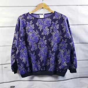Vintage Purple Floral Sweater Oversized 80s 90s Cottagecore